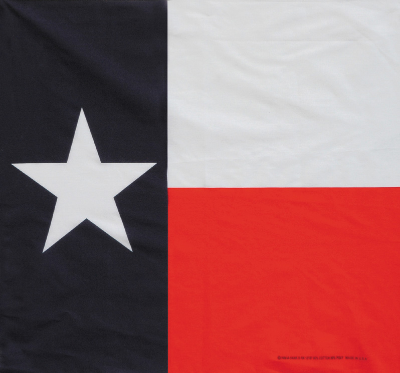 Texas Flag Bandannas, 50/50 Poly-Cotton, Made in  USA