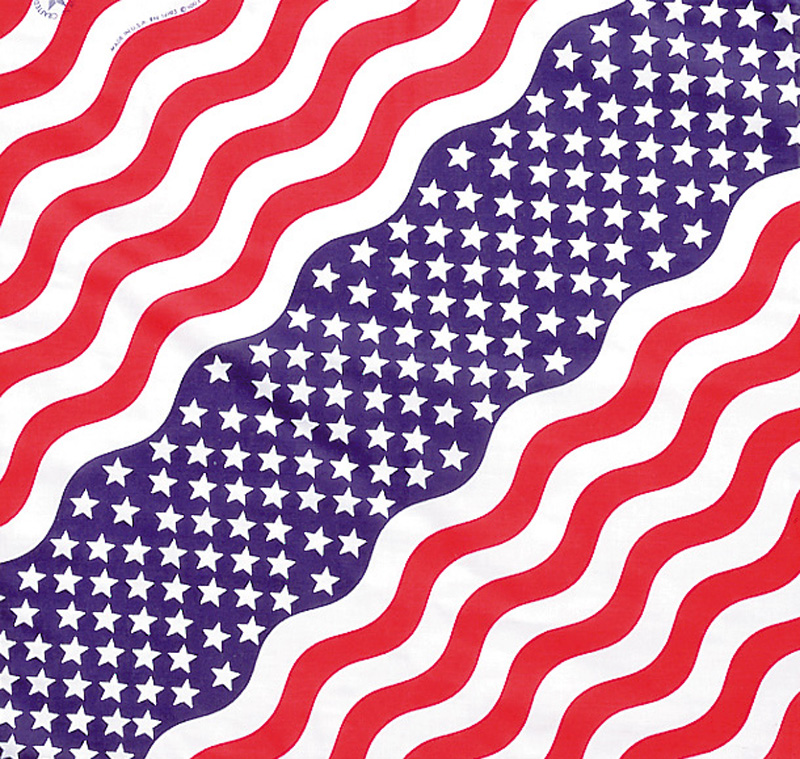 "Stars & Stripes Bandannas, Made in  USA - 22"" x 22"". Made in USA. Minimum 1 dozen."