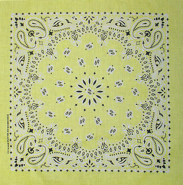 Yellow Paisley Bandannas, 100% cotton, Made in  USA