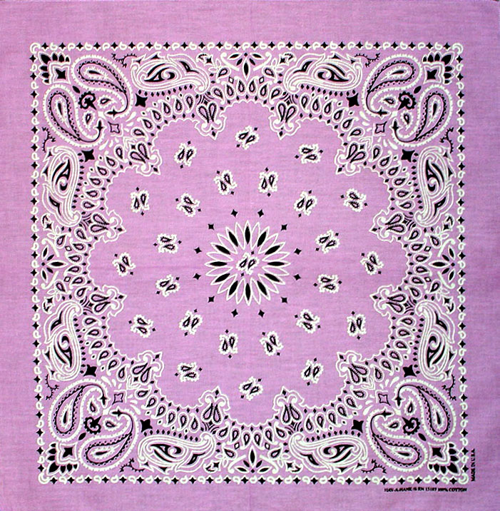 "Lavender Paisley Bandannas, Made in  USA - 22"" x 22"". Made in USA. Minimum 1 dozen."