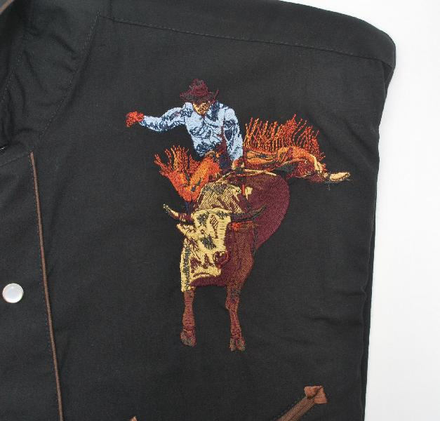 Men's Western Shirt - Bullrider Embroidery - BLACK - Poly/Cotton Blend  /  Click on alternative image icon to see enlarged view of design