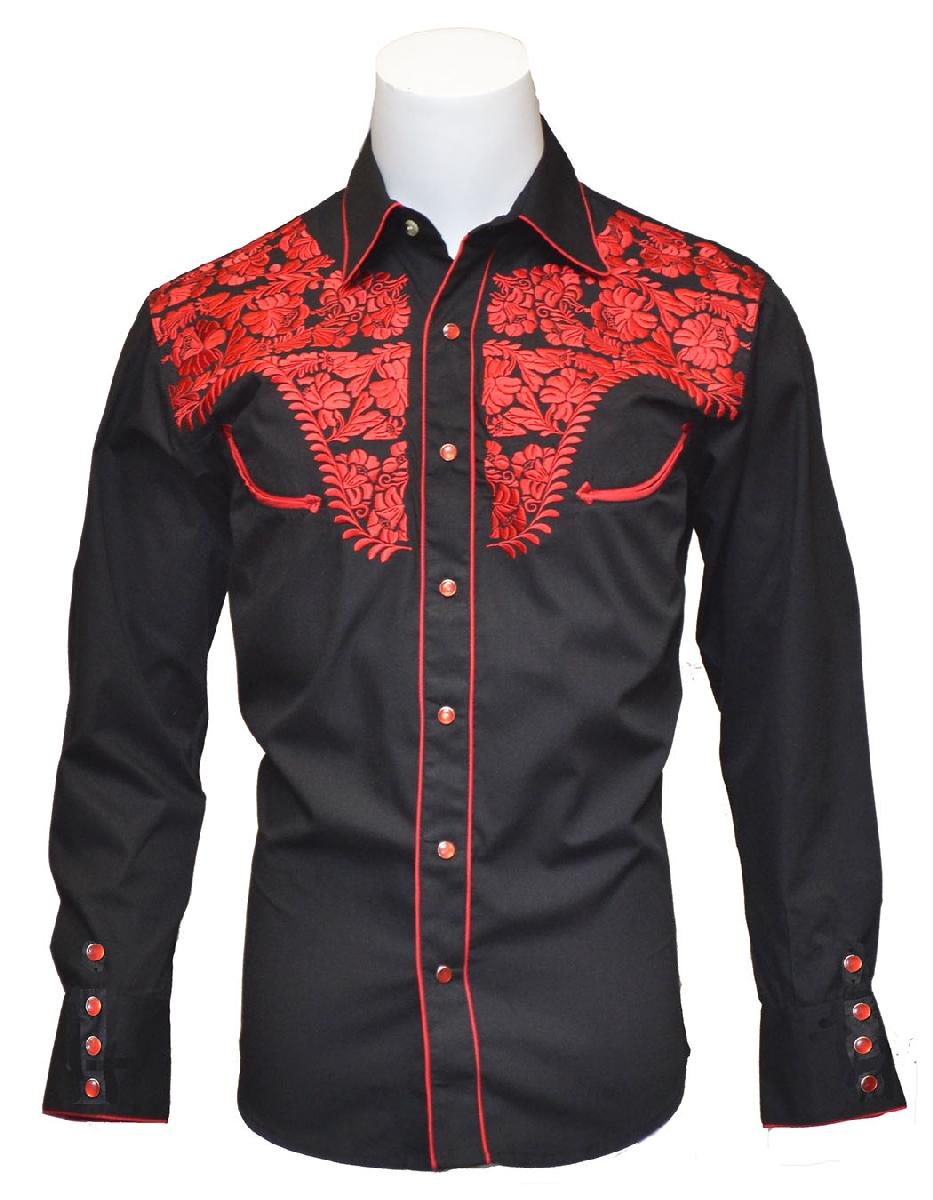 New - Mens Tooled Black Western Shirts with Red Embroidery