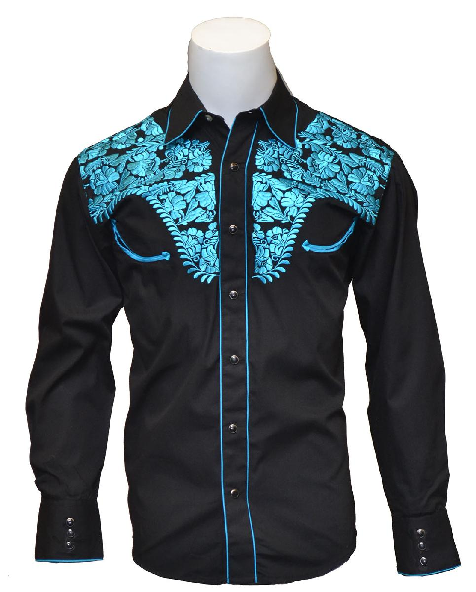 New -Mens Tooled Black Western Shirts with Blue Embroidery