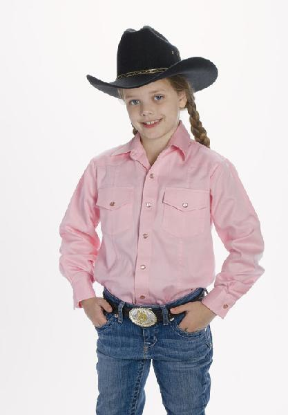 CHILD'S Western Shirt  *PINK*   - Pearlized Snaps, Western Yoke, 100% Cotton