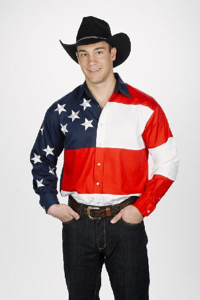 Stars & Stripes Men's Western Shirt - 100% Cotton - Pearlized Snaps