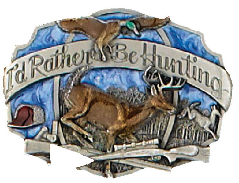 I'd rather be hunting belt buckle 3-1/8 x 2-1/4 Made in USA