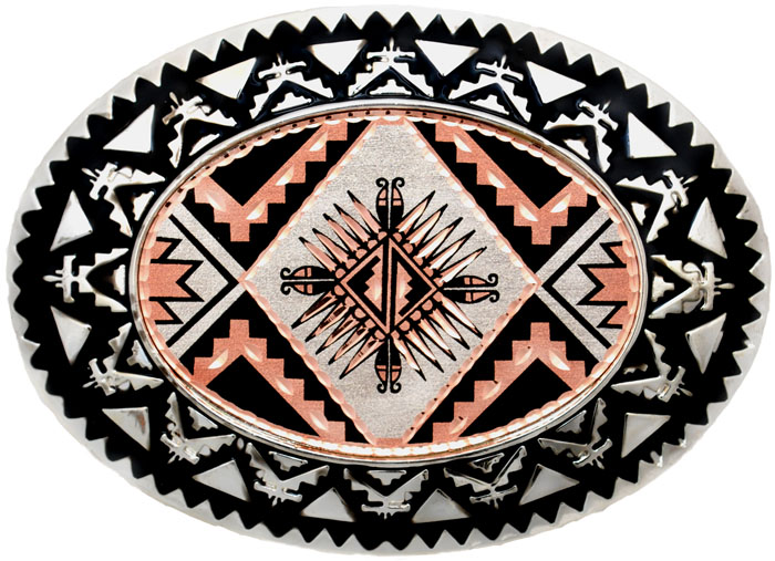"Sunburst Copper Belt Buckle 3 1/2 "" x 2 1/2"""