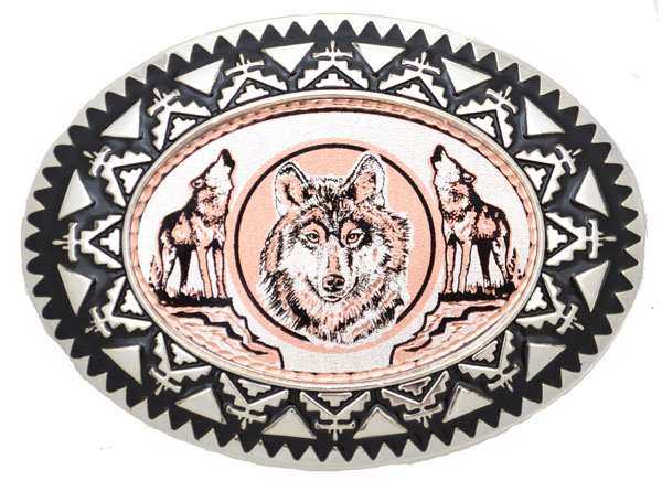 "Copper Belt Buckle Wolves 3 1/2 "" x 2 1/2"""