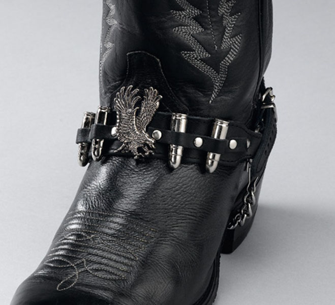 Leather Boot Straps With Eagle And Shells