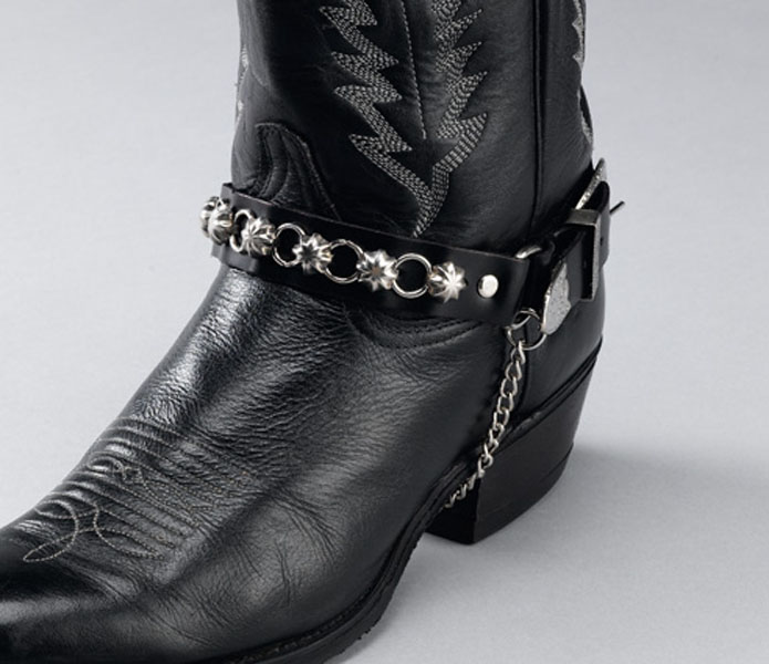 Black Leather Boot Chains, star studs & rings