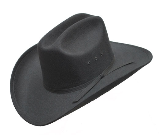 Black Faux Felt Cowboy Hat                                                                     - ROUGH RIDER, Black Band