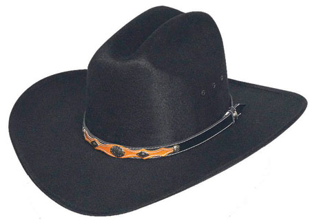 Black Faux Felt Hat, Black & Brown band w/ conchos  -  *Elastic