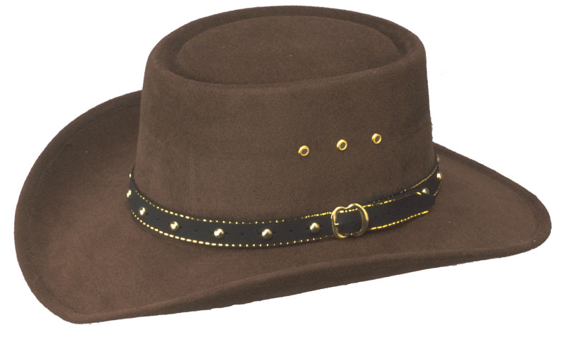Brown Faux Felt Gambler Hat  *Elastic