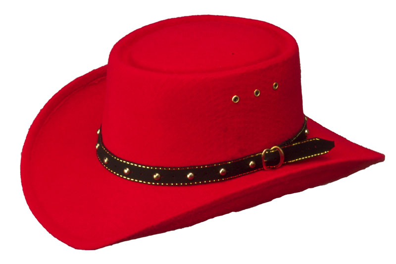 *ADULT*  Red Faux Felt Gambler Hat  *elastic     - MIDLANDS