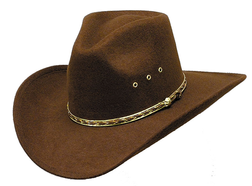 Brown Pinch Front Faux Felt Hat *Elastic - JOHN BROWN