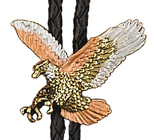 Tri-color Eagle Bolo Tie, Made in the USA - SILVER & 14 kt GOLD PLATED,   MADE IN USA