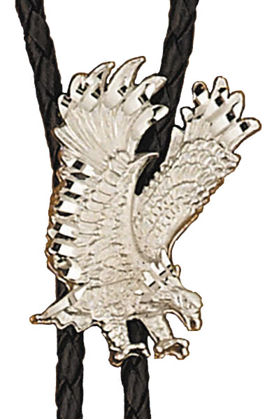 Silver Eagle Bolo Tie,  Made in the USA - Silver Plated,   Made in USA