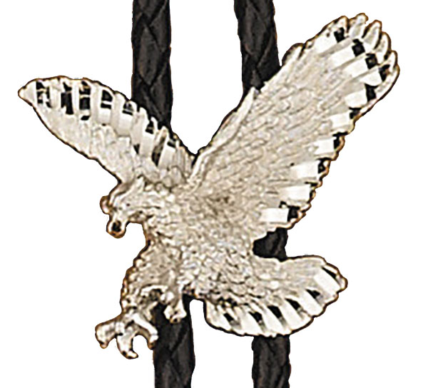 Silver Eagle Bolo Tie,  Made in the USA - Silver Plated.  Made in USA