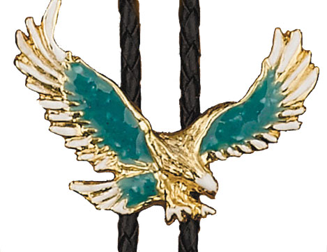 Turquoise Eagle Bolo Tie, Made in the USA - 14 kt Gold Plated, enameled,  Made In USA