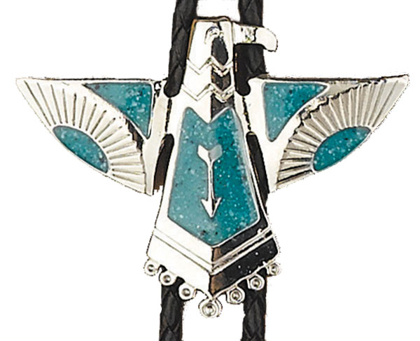 Thunderbird Bolo Tie,  Made in the USA - Silver Plated, Enameled,   Made in USA
