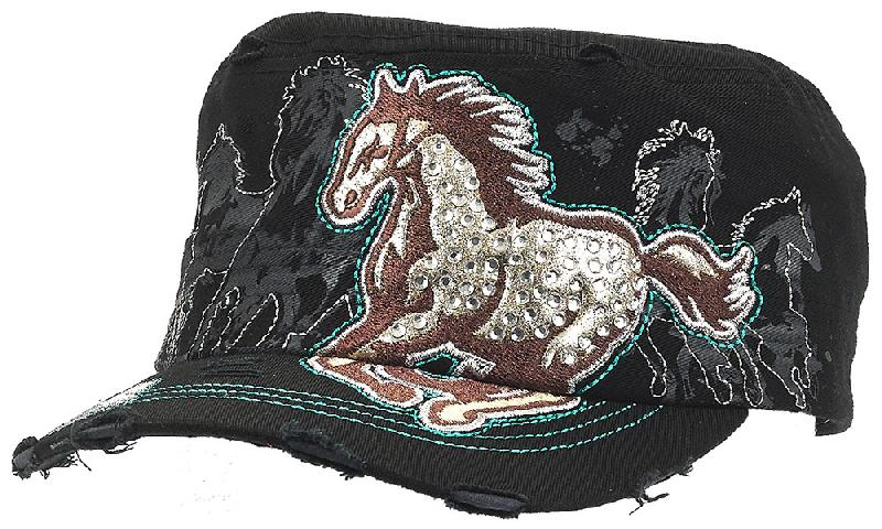 VINTAGE Cap - Running Horse - Rhinestones - adjustable - Black