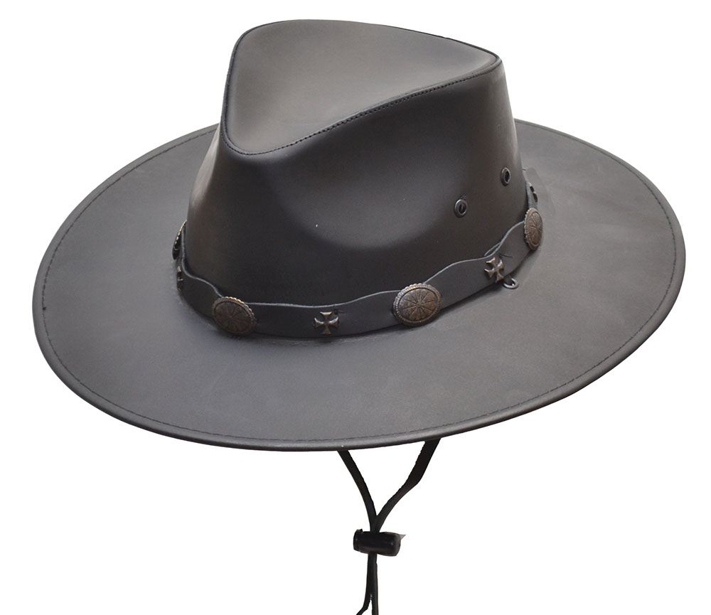 Leather Hat - NEVADA (Black) or DROVER (Brown)