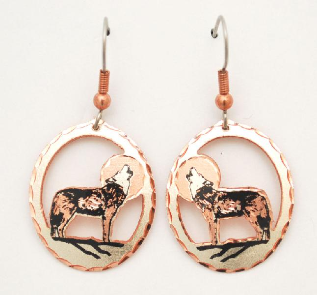 Copper & Silver Plated Earrings - Black Patina - Howling Wolf