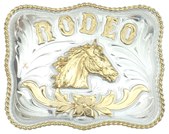 Rodeo Horsehead German Silver Belt Buckle 4 x 3