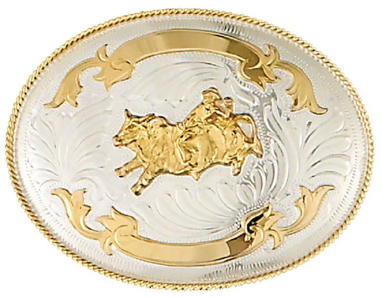 German Silver Bullrider Trophy Belt Buckle 5 x 3-3/4