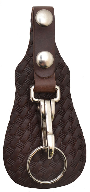 New -Leather Basketweave Key Fob - Brown - Made in USA - wo