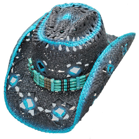 NEW! Straw Hat - Blue & Black