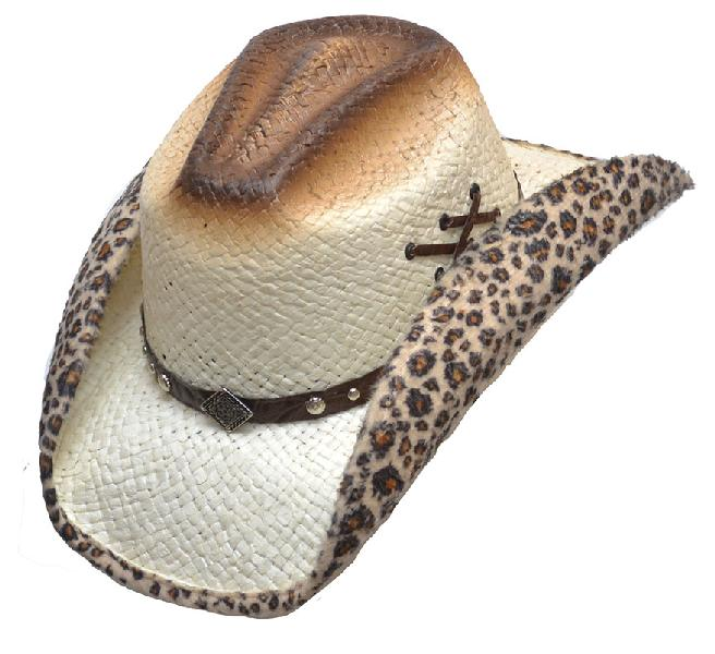 NEW Straw Hat with Leopard Faux Felt Lining