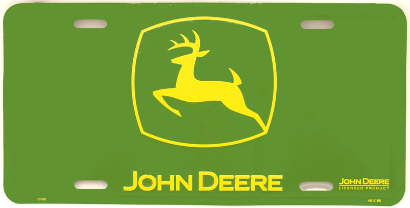 "John Deere License Plate, Made in the USA  d - Metal. 12"" x 6"""