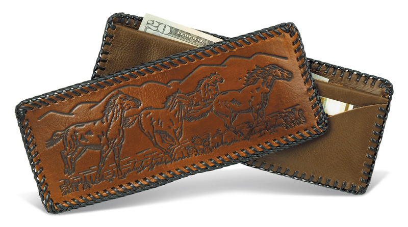 Special - Laced Leather Wallet  Assorted Designs Made in USA