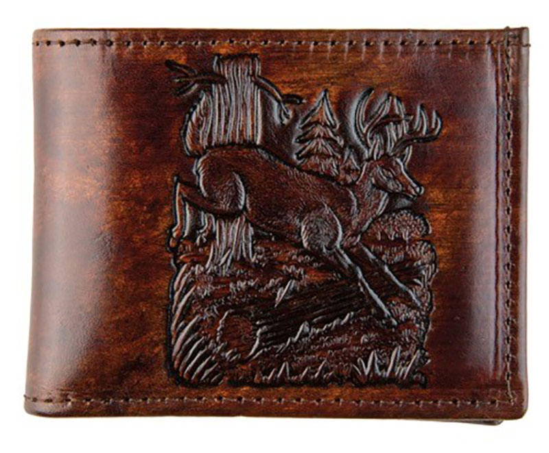 New - Brown Leather Billfold - Made in USA - Deer - wo