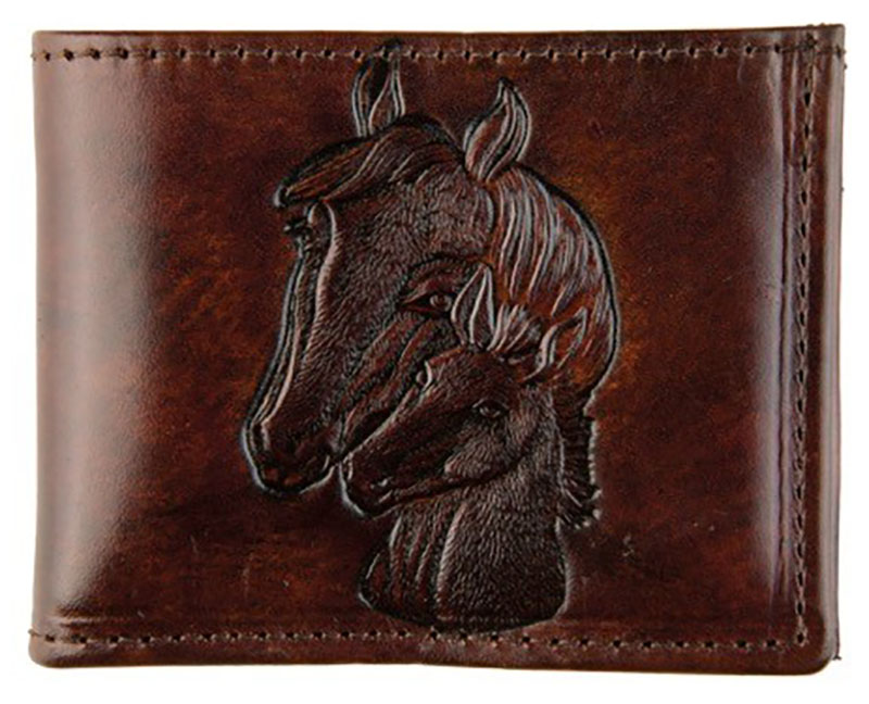 New - Brown Leather Billfold - Made in USA - Horses - wo