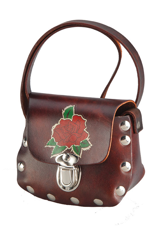''Antique Little leather SHOULDER BAG w/ Rose, 4-1/2'''' x 4'''' Made in the USA''