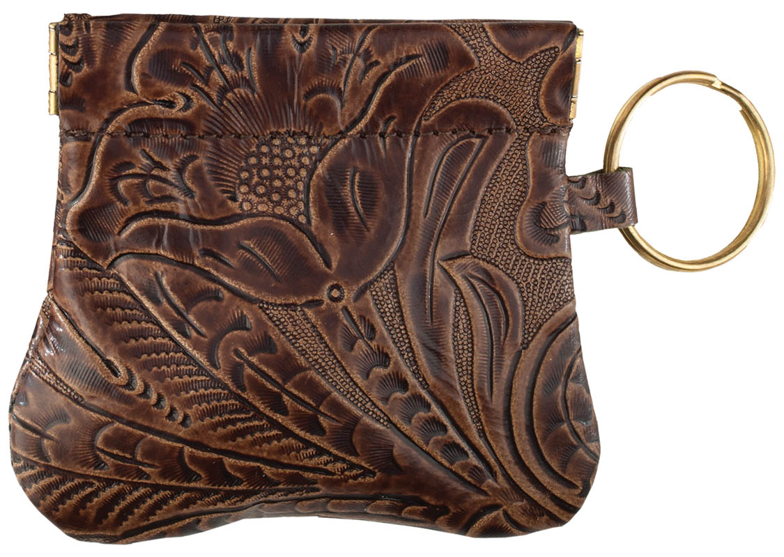New -Leather  Squeeze Coin Purse - Brown Floral - made in USA - wo