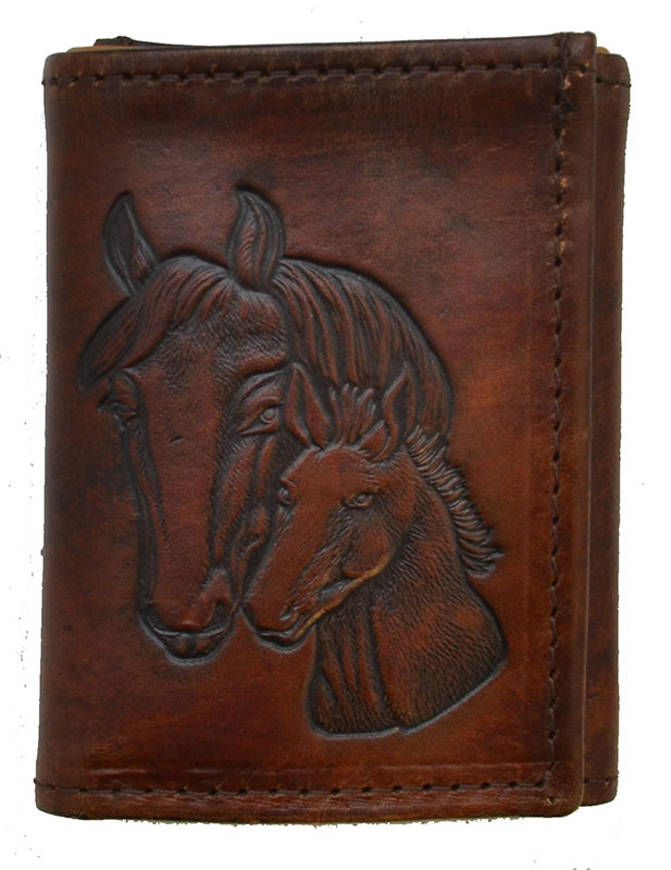New - Leather Trifold Wallet - Horse