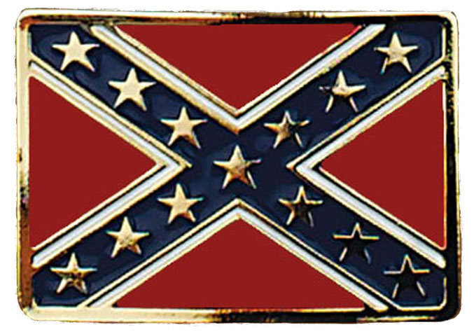 Confederate Flag BELT BUCKLE 3-1/4 x 2-1/4 Gold Made in USA d