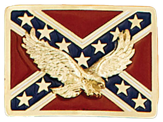 Rebel Eagle Belt Buckle, 2-3/4 x 2,  Made in the USA - Gold Plated,  Made in USA