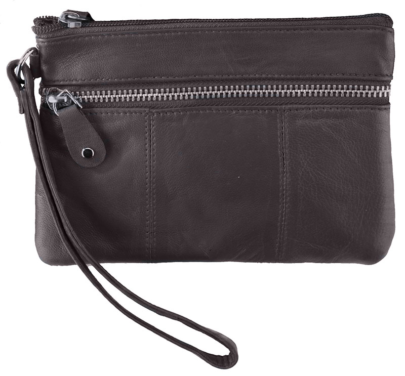 New - Brown Wristlet Pouch with Zippers