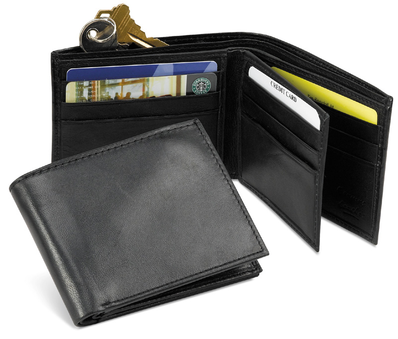LEATHER BiFold Wallet Clear Flap  Black  3-1/4 x 9
