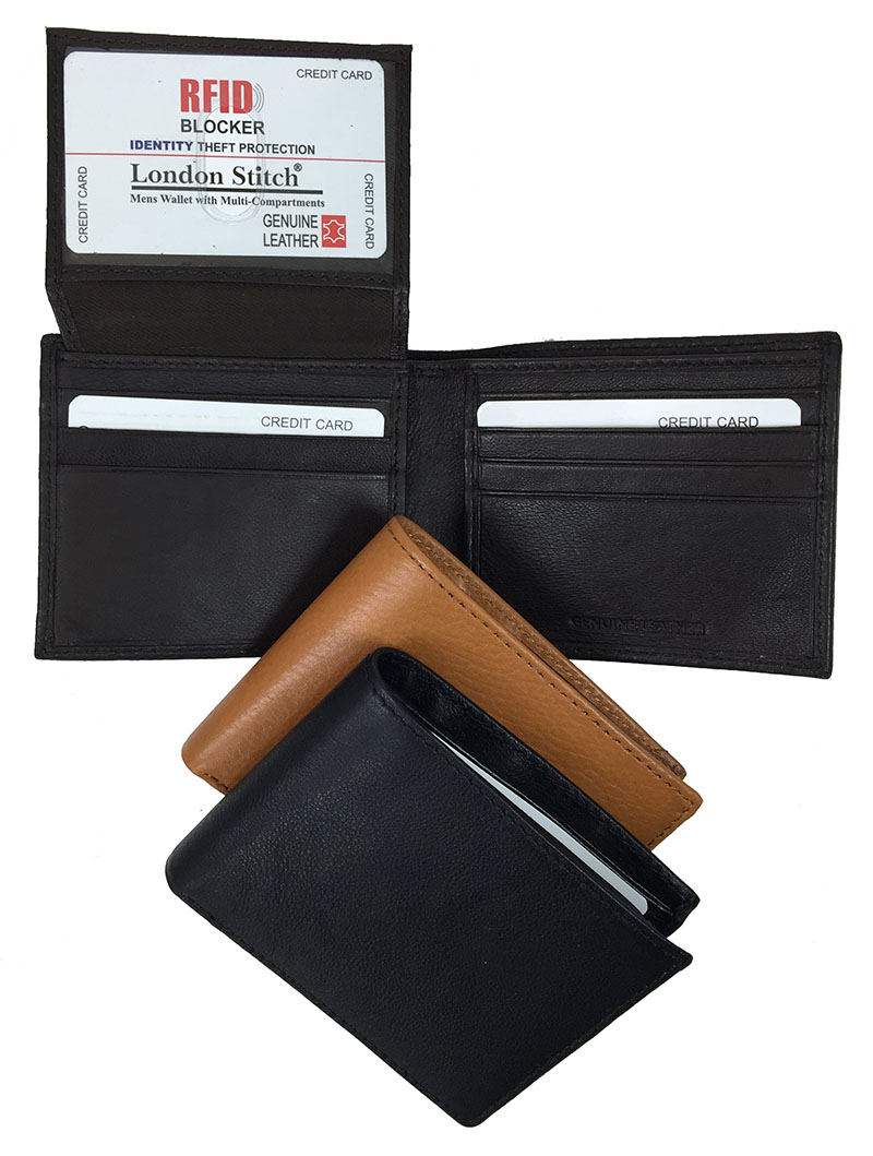 Midnight Brown-Genuine LEATHER Billfold-RFID Protection
