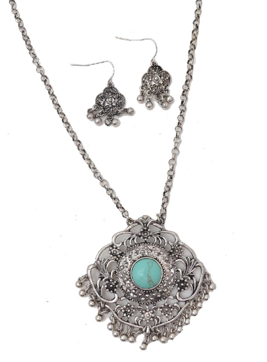 Closeout NECKLACE/ Earring Set-silver filigree/turquoise stone  d