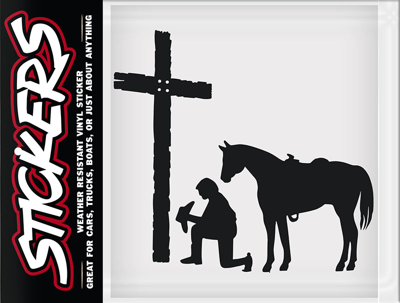 "New - Man, Cross, Horse  Sticker made in USA 5""x5"" - wo"