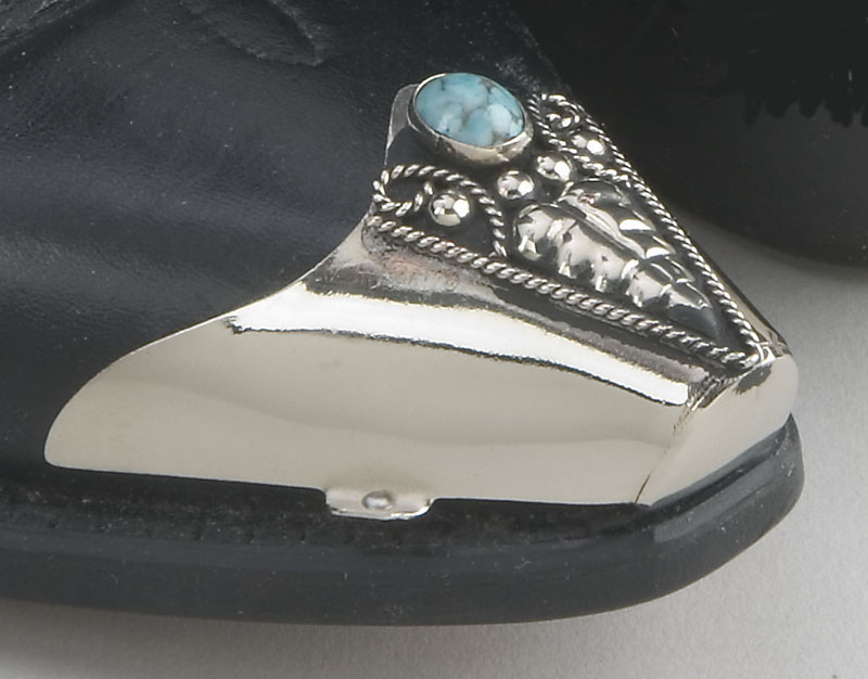 Genuine Turquoise Boot Tips - Silver Plated