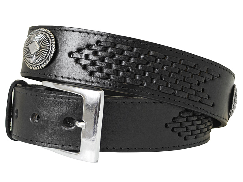 SPECIAL (overstocked) - Black Leather Woven Western Belt With Conchos-Size 42 z