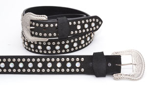 "Special -Leather Belt - Black Rhinestones & Studs, 1-1/2"" wide."