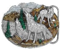 Wolf Scene Belt Buckle 3 x 2-1/4 Made in USA - Made in USA